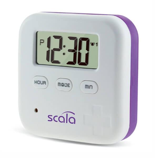 """REVIVA für Menschen mit Demenz – Scala - Pillen-Box """"Vergiss Nix 4"""" – mit Uhrzeit-Display und Wecker"""