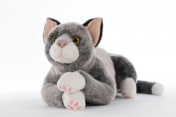 """REVIVA für Menschen mit Demenz – RobiCare Kuscheltierkatze Lucky – Memory-Katze grau/weiss für Demenz-Patienten: """"Blacky"""""""