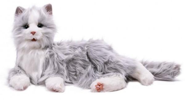 Interaktive Katze, Roboter-Katze in grau-weiss für Senioren und Menschen mit Demenz. Lebensecht...