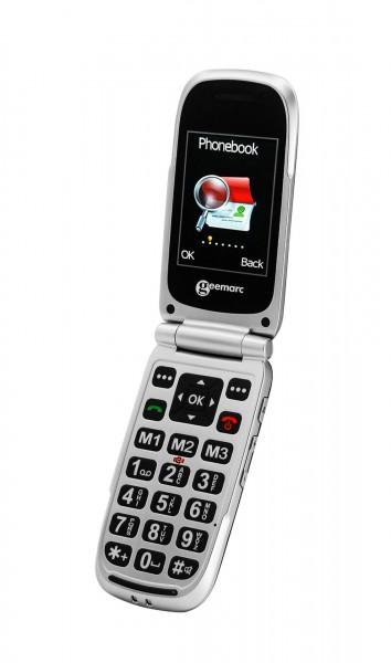 REVIVA für Menschen mit Demenz – Geemarc Kommunikation für Seh- und Hörgeschädigte – CL8510 - Modernes Klapp-Handy für Senioren. Mit Extra großen Tasten.